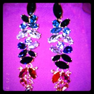 rhinestone earrings.